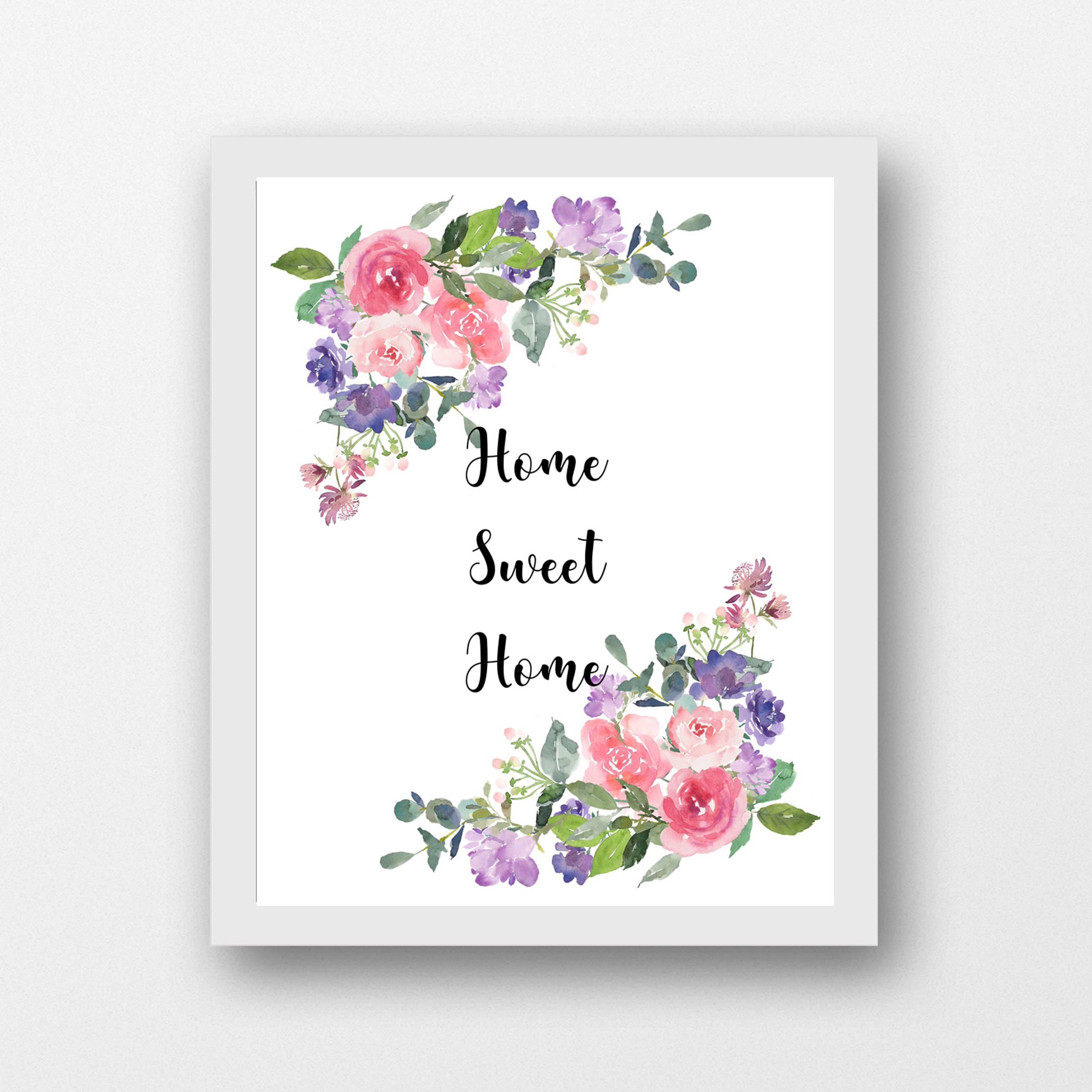 graphic regarding Home Sweet Home Printable named House Lovable House wall artwork printable, flower accents 8 x 10 printable PDF