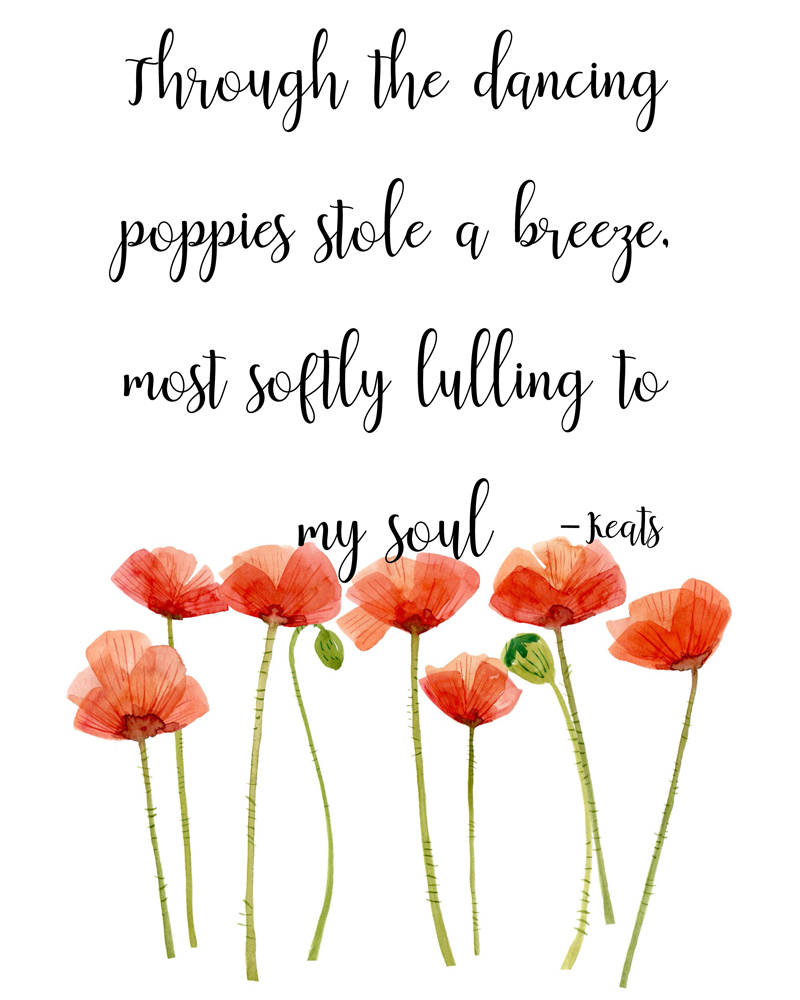 Keats Poetry Quote Through The Dancing Poppies Instant Download Printable 8 X 10 Pdf