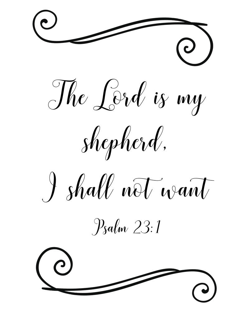photograph about Printable 23rd Psalm named Psalm 23:1, scripture \