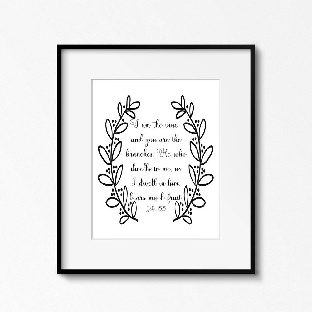 graphic relating to Printable Quotes Black and White identified as John 5:15, I am the vine and your self are the branches, black/white 8 x 10 printable PDF
