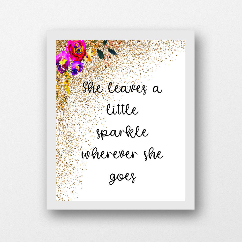image regarding She Leaves a Little Sparkle Wherever She Goes Free Printable called She leaves a minor sparkle everywhere she goes nursery wall artwork printable, boy or girl lady quotation, dorm artwork 8 x 10 PDF fast obtain
